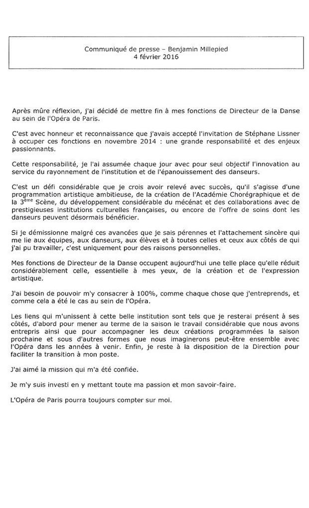 La lettre de démission de Benjamin Millepied