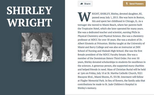 La notice nécrologique de Shirley Wright.
