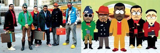 La photo préférée de Virgil Abloh (en doudoune bleu clair) : durant la fashion week parisienne de 2009, avec (de g. à dr.) Don C, Taz Arnold, Chris Julian, Kanye West et Fonzworth Bentley. Leur look parodié dans le dessin animé « South Park » (ci-dessous).