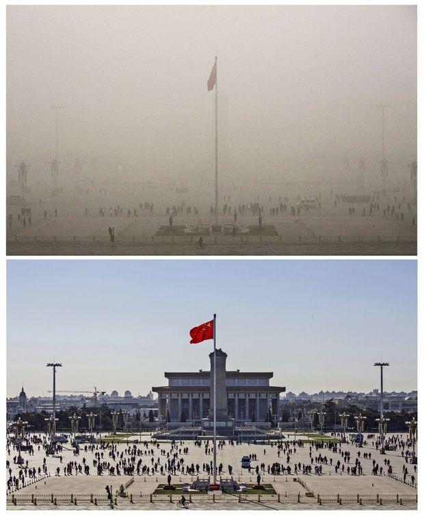 La place Tian'anmen cachée par un épais brouillard de pollution le 1er décembre 2015 et, 24 heures plus tard, sous un ciel bleu sans nuage.