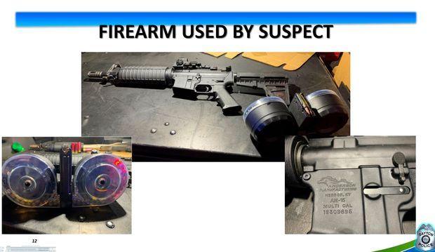 La police a dévoilé l'arme et les munitions utilisées par le tueur de Dayton dimanche.