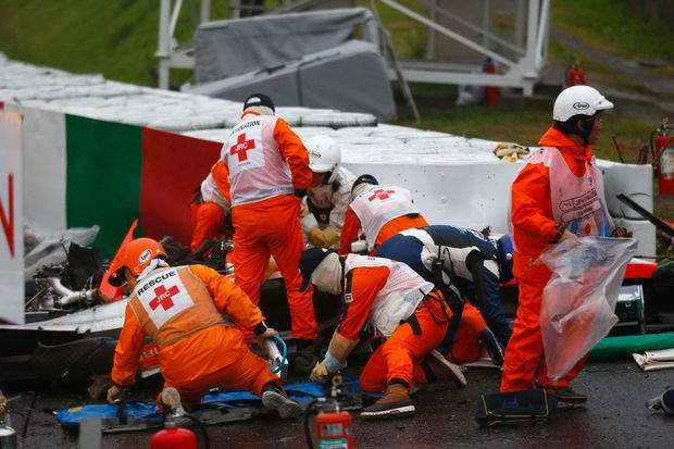 La voiture accidentée de Jules Bianchi
