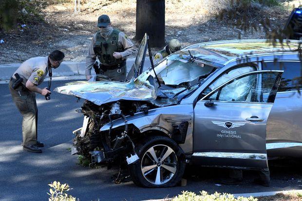 La voiture de Tiger Woods après l'accident mardi.