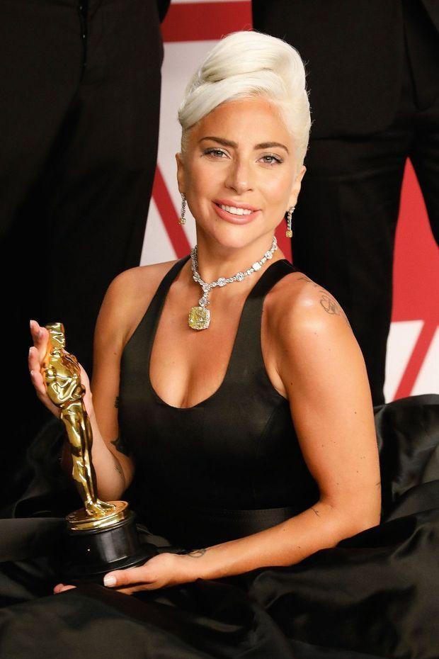 Lady Gaga au 91ème Oscar. Le gagnant de la meilleure chanson originale porte un collier avec Tiffany Diamond.