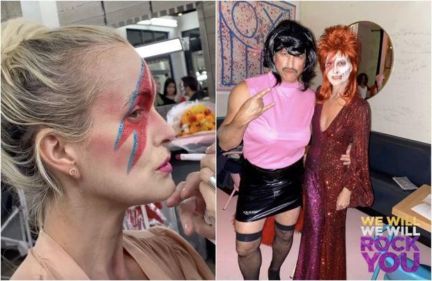 Laeticia Hallyday en Ziggy Stardust pour Halloween.