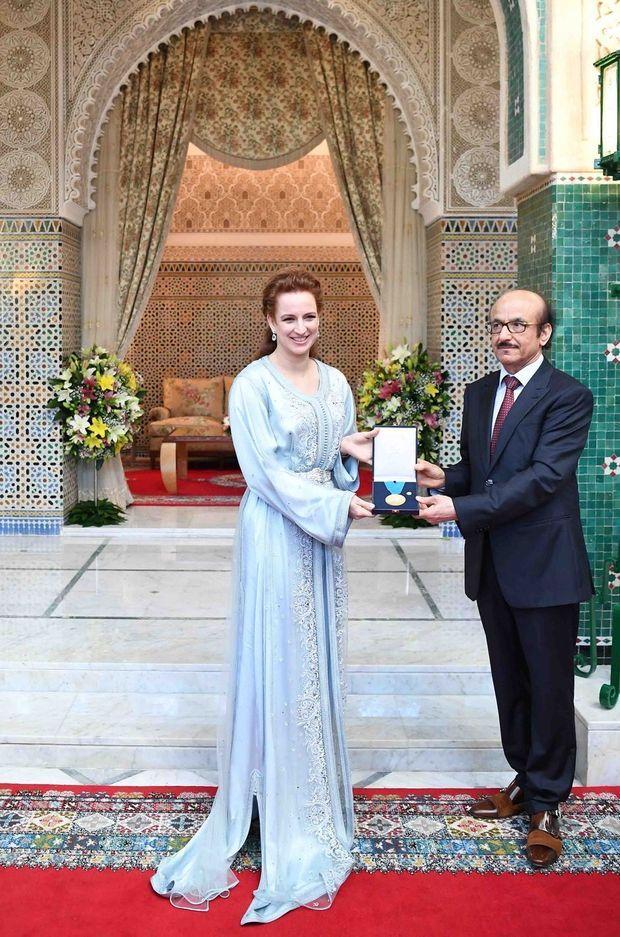 La princesse Lalla Salma du Maroc reçoit la médaille d'or de l'OMS à Rabat, le 22 mai 2017