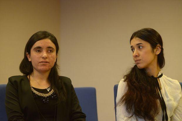 Lamiya Aji Bashar et Nadia Murad à Strasbourg, le 13 décembre 2016.
