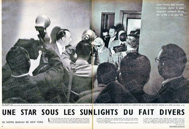 """""""Hollywood a tourné cette scène des centaines de fois, mais ce jour-là, aucun Hitchcock n'avait réglé les lumières de ce clair-obscur policier. L'héroïne était pourtant une star authentique. Lana Turner, venue témoigner sur le meurtre de son ami, le gangster Stompanato, poignardé par sa propre fille Cheryl, 14 ans."""" - Paris Match n°471, 19 avril 1958."""