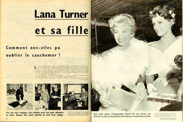"""""""1958 : Dans une somptueuse villa, un gangster est tué. La meurtrière : une enfant de quatorze ans. Cheryl, fille de Lana Turner. Au tribunal, la star, livide, défend son enfant. 1959 : À Hollywood, première de 'L'Imitation de la vie', film qui montre une mère et une fille amoureuses du même homme. Star : Lana. À son bras, une jeune fille radieuse : Cheryl."""" - Paris Match n°517, 7 mars 1959"""