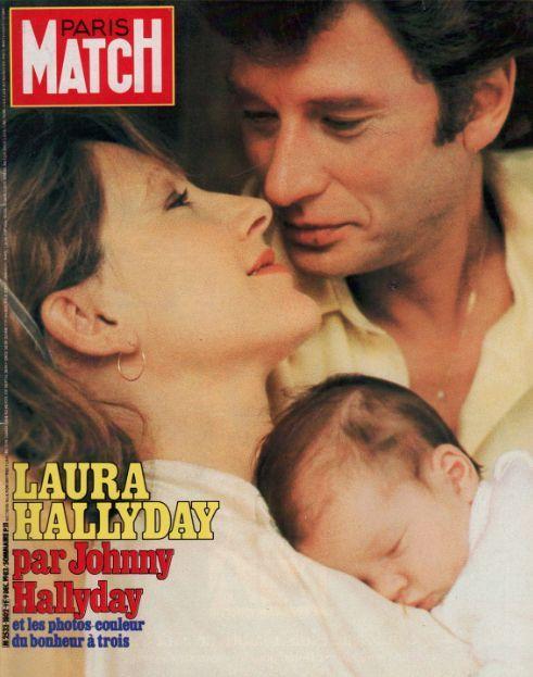Laura Smet bébé avec ses parents Nathalie Baye et Johnny Hallyday, Paris Match n°1802 du 9 décembre 1983