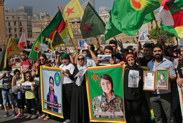Le 13 octobre, Beyrouth. Manifestation place des Martyrs à la mémoire de Hevrin Khalaf et de Sehid Rojinda Qendil, une combattante kurde tuée en Syrie.