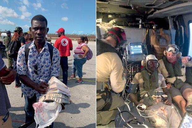 Le drame des Haïtiens : à l'aéroport de Treasure Cay, Marc-Philippe Estinoble (à g.) n'a plus que sa Bible détrempée. Dewey, secouru par Allen Lenard (à sa gauche), un bénévole américain, à bord d'un Black Hawk de l'US Navy, le 7 septembre.