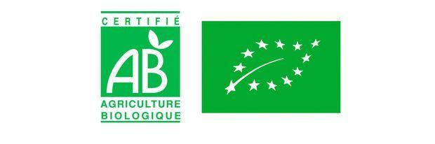 Le logo AB et l'Eurofeuille de l'Union européenne.