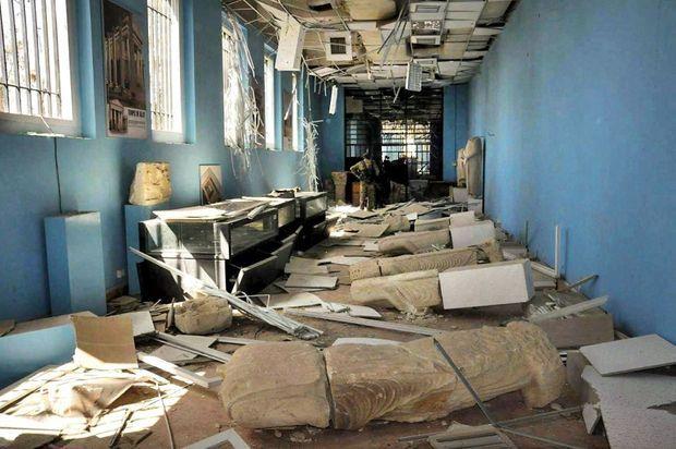 Le musée de Palmyre tel que découvert après l'évacuation de Daech, en mars 2016.