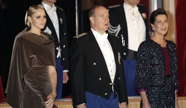 Le prince Albert II, Charlene et la princesse Caroline, fête nationale monégasque-