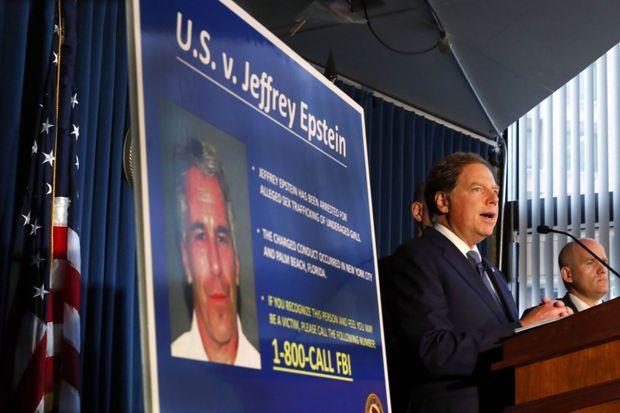 Le procureur du district sud de New York, Geoffrey Berman, lors d'une conférence de presse lundi, sur l'affaire Jeffrey Epstein.