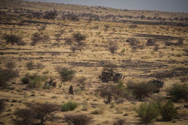 Les forces spéciales estoniennes et des soldats maliens déployés à l'est de Gao pour une opération de fouille des oueds, le 9 avril.