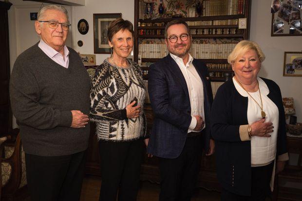 Les héritiers de Charlotte Chappuis, à Caen le 5 février. De g. à dr. : Louis-Dominique Liébard, Odile McGowen, Didier Sourisseau et sa mère, Bernadette