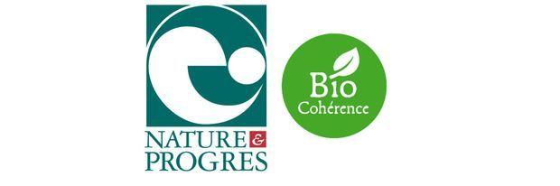 Les logos de Nature & Progrès et de Biocohérence.