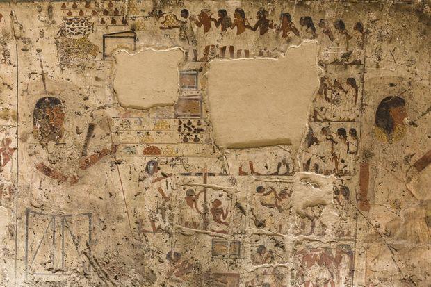 Les pilleurs ont prélevé à la scie des fragments de fresque dans l'une des tombes de Gourna, alors qu'elle était fermée au public depuis 1961.