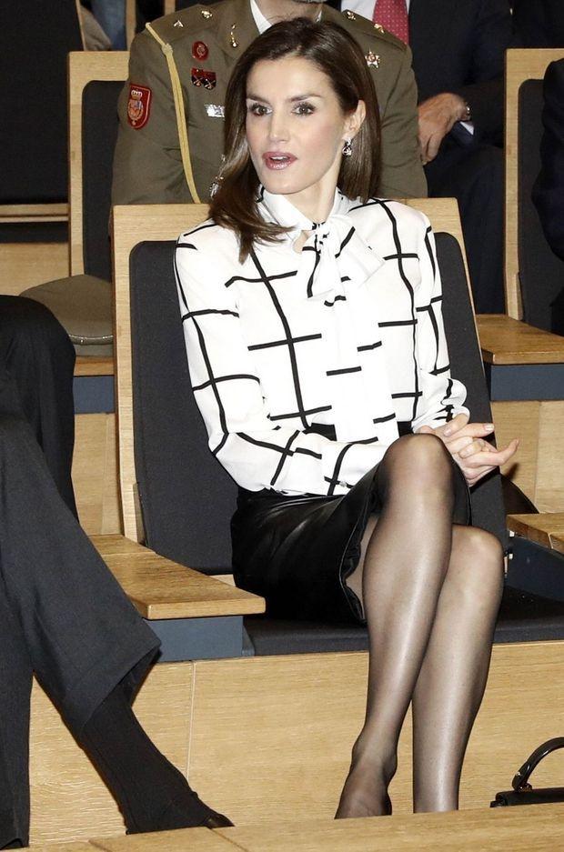 La reine Letizia d'Espagne à Madrid, le 13 février 2017
