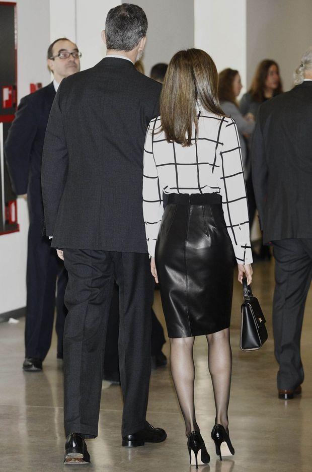 La reine Letizia et le roi Felipe VI d'Espagne à Madrid, le 13 février 2017