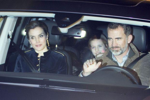 La reine Letizia, le roi Felipe VI et la princesse Leonor d'Espagne à Madrid, le 6 janvier 2017