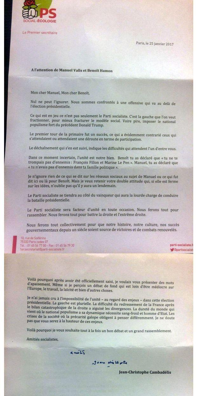 Jean-Christophe Cambadélis a écrit une lettre à Manuel Valls et Benoît Hamon