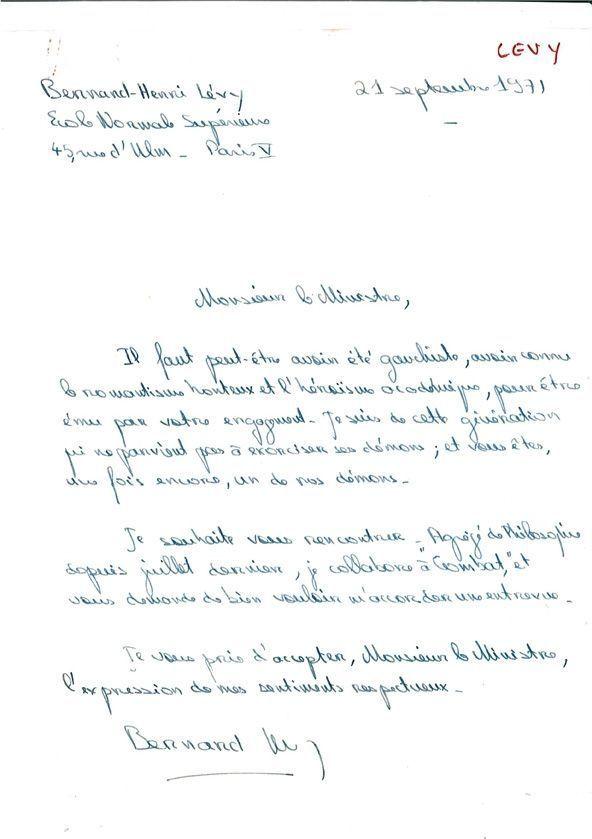Lettre de BHL- Bengale-
