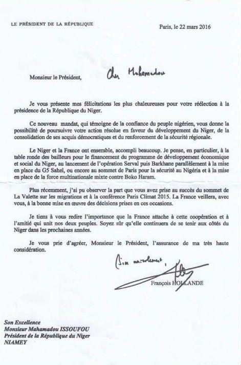 Le courrier de félicitation adressé par François Hollande à son homologue nigérien Mahamadou Issoufou