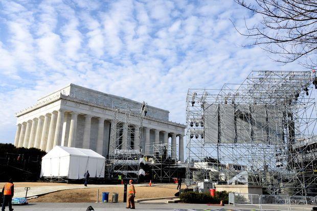 Préparatifs au Lincoln Memorial de Washington.