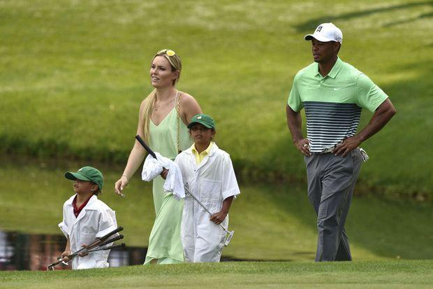 Lindsey Vonn, Tiger Woods et ses deux enfants Sam et Charlie au Masters d'Augusta, en avril dernier.