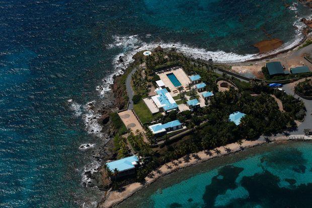 Vue aérienne de l'île privée de Jeffrey Epstein, Little Saint-James, le 21 juillet.