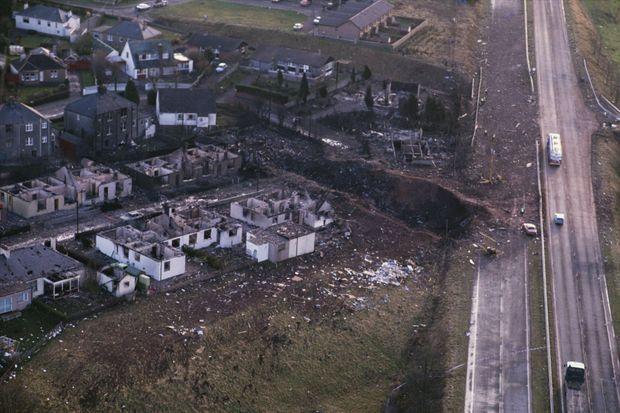 Lockerbie détruite par le crash du Boeing de la Pan Am, victime d'un attentat à la bombe le 21 décembre 1988.
