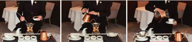 Lorsque servir le café devient un art. Service au guéridon à la française, avec la Chemex.