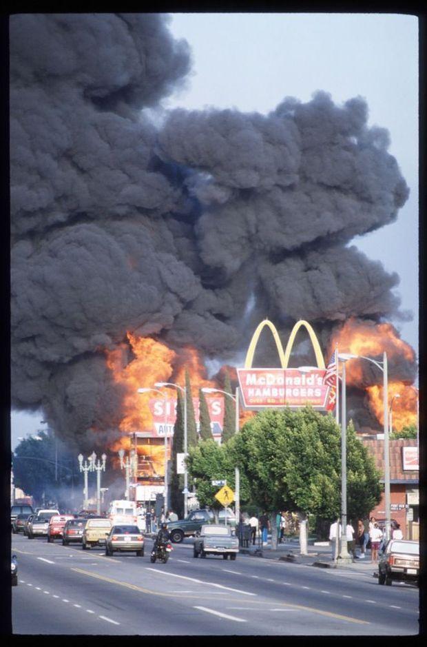 Los Angeles en feu, lors des émeutes de 1992.