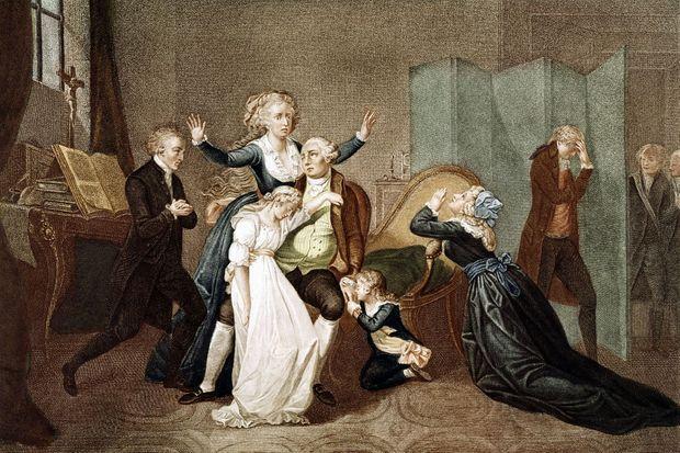 Gravure figurant la                         dernière entrevue de Louis XVI avec sa famille à                         la prison du Temple le 20 janvier 1793
