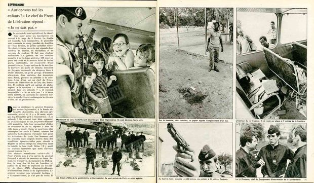 """""""Les tireurs d'élite de la gendarmerie et leur matériel. Ils sont arrivés de Paris en avion spécial. - Au fusil, ils font 'mouche à 200 mètres. Au pistolet à 30 mètres. Toujours - Le Lt Prouteau, chef du Groupement d'Intervention de gendarmerie."""" - Paris Match n°1395, 21 février 1976."""