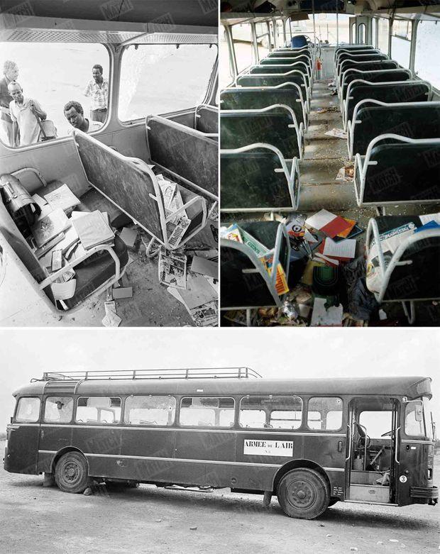 """""""L'intérieur du car tragique. Il est resté sur place, à 7 mètres de la frontière."""" - Paris Match n°1395, 21 février 1976."""