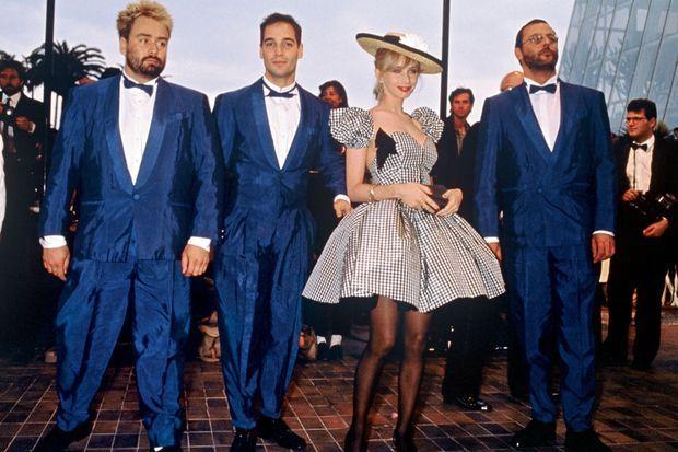 A Cannes, en 1988. De g. à dr. : Luc Besson, Jean-Marc Barr, Rosanna Arquette et Jean Reno.