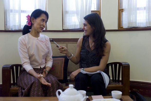 Aung San Suu Kyi avec notre reporter.