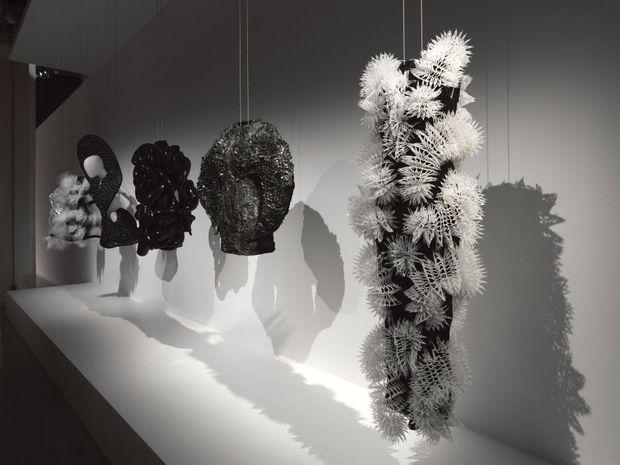 Résine, métal, Plexiglas, cheveux, cuir : toutes ces matières composent la garde-robe futuriste d'Iris Van Herpen.