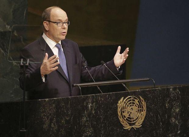 Le prince Albert de Monaco lors du sommet sur le développement durable de l'Onu, à New York, le 26 septembre.
