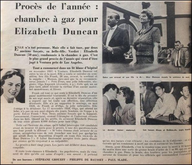 « Procès de l'année : chambre à gaz pour Elizabeth Duncan » - Paris Match n°521, 4 avril 1959.