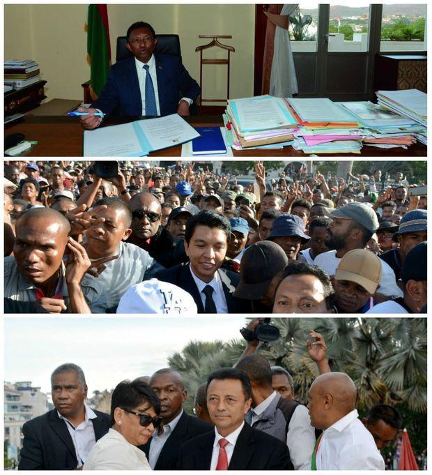 Un fauteuil pour trois avec de haut en bas: le président actuel Hery Rajaonarimampianina, l'ex-président de la Haute Autorité de transition Andry Rajoelina et l'ancien président de 2002 à 2009 Marc Ravalomanana