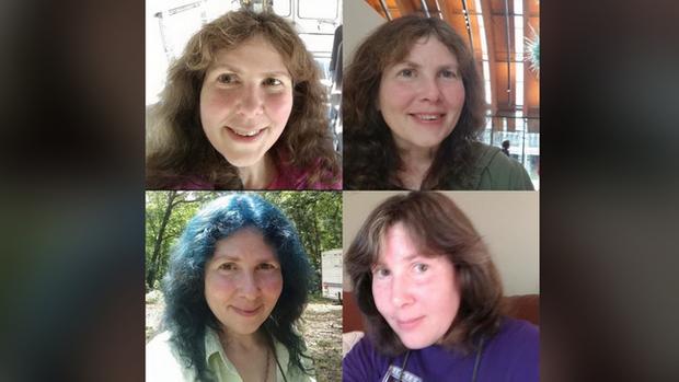 Quatre portraits de Sandra Hugues. Sur l'un d'eux, ses cheveux sont teints en bleu, comme lors de sa disparition.