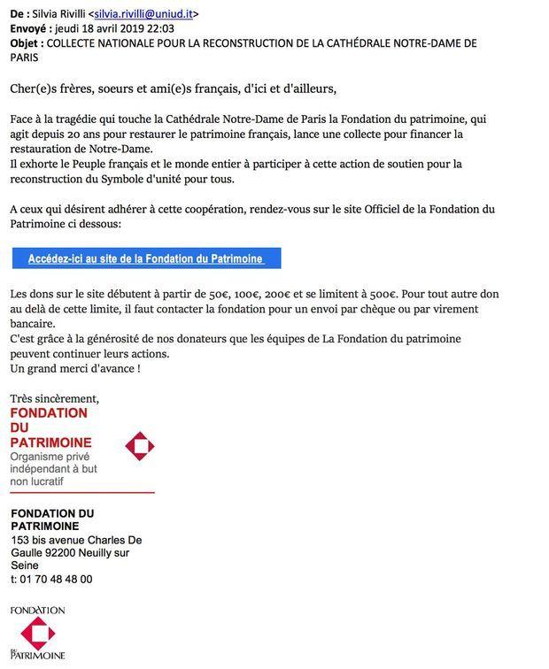 Capture d'écran d'un mail frauduleux renvoyant vers un faux site de collecte de dons.