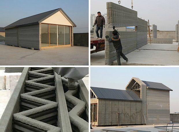 Une fois fabriqués, les blocs sont transportés hors du hangar de fabrication puis assemblés en un temps record.