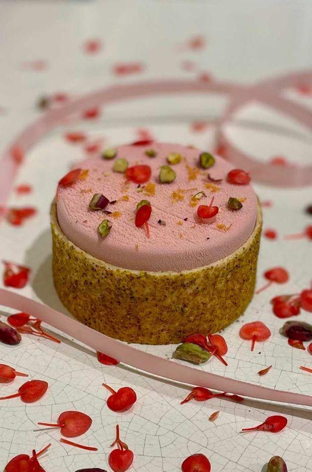 L'entremet Coeur du menu de Saint-Valentin pensé par Stéphanie Le Quellec.