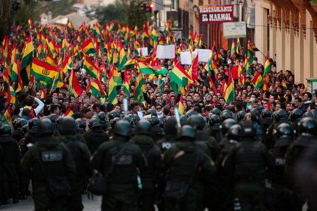 Manifestation à La Paz, en Bolivie, jeudi.